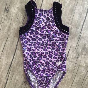 GK Leotard with Purple Leopard w/rhinestone trim